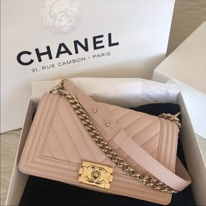 8e15bdf7b62ac5 Pink Chanel Boy Bag with Champagne Hardware